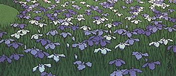detail of a block print by japanese master, kawase hasui - irises